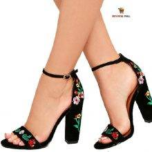 Flowered Embroidered Gladiator High Heels Footwear